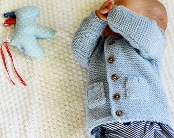 Hand Knitted Baby Cardigan, Wool Baby Sweater