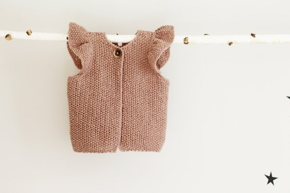 Knit Baby Girl Vest, Baby Girl Waistcoat with Raffles