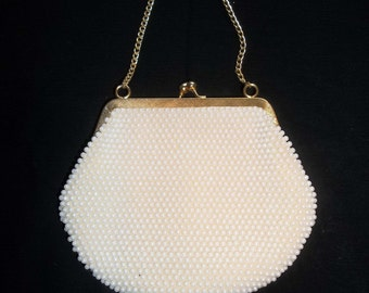 White pearl beaded 1970s evening bag