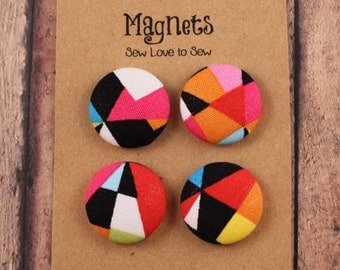 Fabric Covered Button Magnets / Geometric Delight Magnets / Geometric Shapes Magnets / Strong Magnets / Refridgerator Magnets