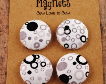Fabric Covered Button Magnets / Polka Dots Magnets / Strong Magnets / Refrigerator Magnets / Fridge Magnets