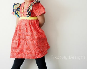 Tiya Boho Tunic Dress girls PDF tutorial e-book, easy sewing pdf pattern Sizes from 6 months to girls size 16 instant download handmade