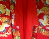 Japanese Red Silk Wedding Kimono Embroidered Lavishly with Gold