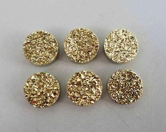 Polished Natural Quartz Gold Color Titanium Round Druzy Cabochon 8mm