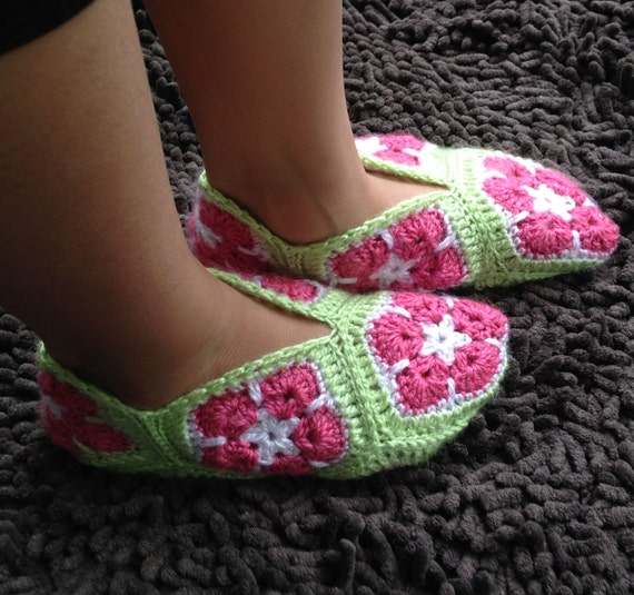 African Flower Granny Square Slippers Crochet by ...