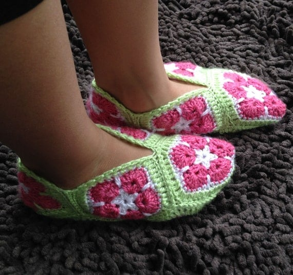 Crochet Pattern For Granny Square Slippers : African Flower Granny Square Slippers Crochet by ...
