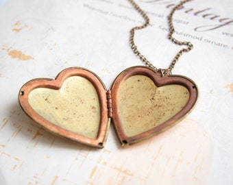 Vintage Heart Locket, Large Locket, Old Locket, Photo Keepsake, Long Chain, Vintage Brass Locket, Secret Message Compartment