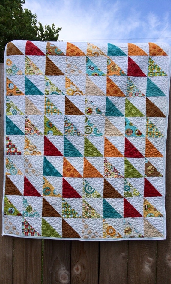 Baby Boy Triangles Blanket Play Mat Handmade Quilt Animals