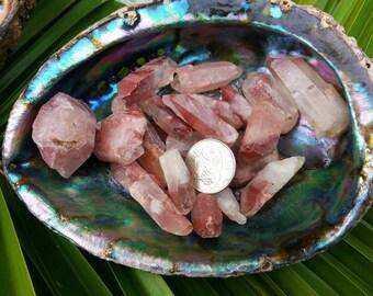 Hematite in Quartz (Fire Quartz, Harlequin Quartz, Hematoid Quartz, Red Quartz, Ferruginous Quartz)~1 med Reiki infused rough quartz crystal