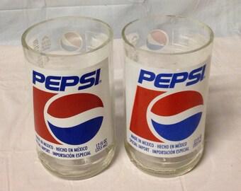 Pepsi Soda Pop Bottle Tumbler Glasses. Recycled Glass Bottles. Novelty Glasses.