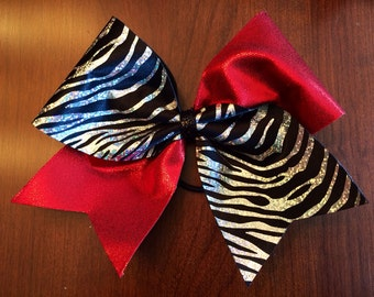 Cheer Bow - Zebra and Red