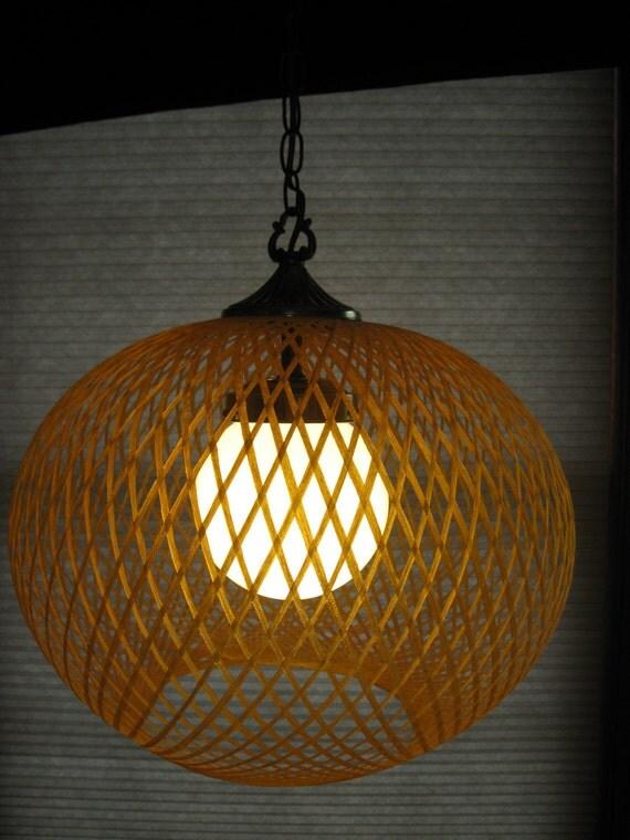 Stunning Woven Swag Lamp Swirl Lamp Gold Spun Fiberglass