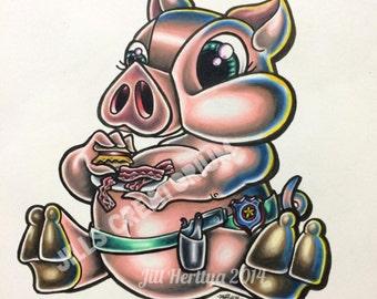 "Piggy Loves Bacon 8x10"" Print"