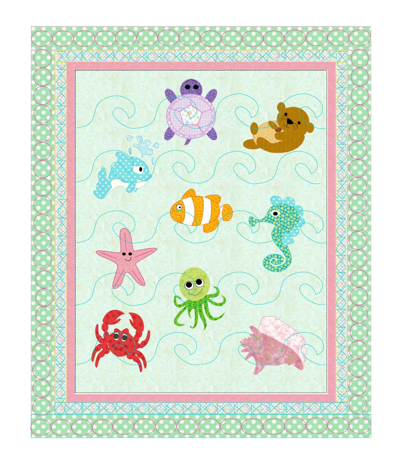 Baby Girl or Boys'Quilt Pattern Under the Sea from KinderGardenDesigns on Etsy Studio