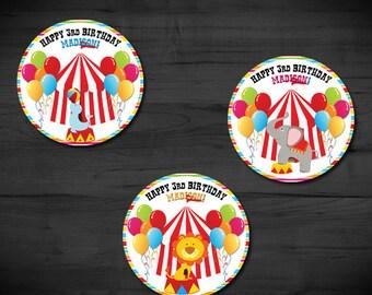 Circus-Carnival Circle Tag, Favor Tag, Sticker, Cupcake Topper-3in