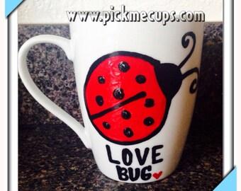 Love bug mug-Lady bug mug-Spring coffee mug grandma mug love bugs