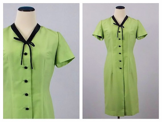 Lime Green Secretary Dress - Size Medium 60s Pussycat Bow Dress - Vintage 1960s Green Button Down Career Dress by Mary Anne Modell