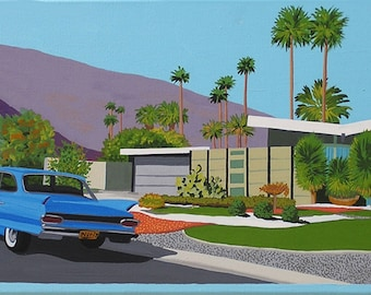 Mid Century Modern Eames Retro Limited Edition Print from Original Painting Palm Springs House Car