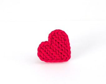 Red heart ring - knit imitation heart - heart shaped red ring - polymer clay red heart