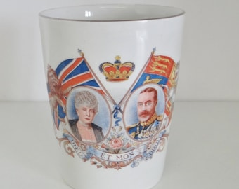 Vintage Commemorative Beaker King George V and Queen Mary Silver Jubilee 1910 - 1935 Staffordshire Pottery By Empire England 1930's