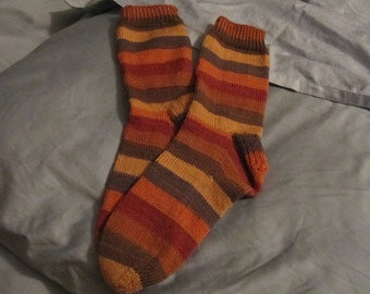 Autumn striped hand knit wool socks women US size 7
