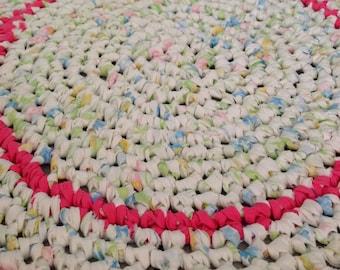 """Handmade crocheted Rag Rug 24"""" round"""