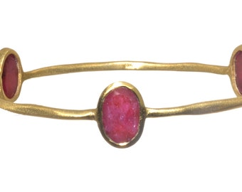 Gold Plated Bangle with Oval Shaped Red Ropada