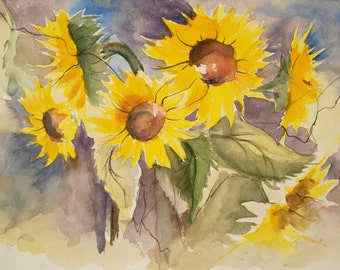 Flower Painting of Sunflowers, Limited Edition Print