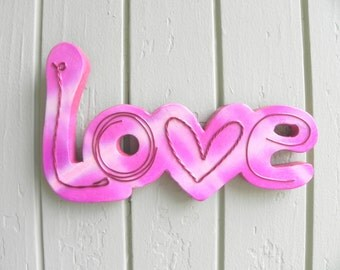 Love carved wood wall art   **FREE U.S. SHIPPING**  (item 130891)