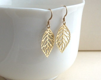 Matte Gold Fall Leaf Earrings, Small Gold Leaf Earrings, Dainty Leaf Earrings, Silver Leaf Earrings - 14K Gold-Filled Ear Wires