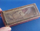 Reserved for D.--Antique c 1850 Small Trinket, Specimen Box, Glass Lid, Dresden Trim, Seahorses
