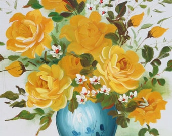 Oil Painting of Yellow Roses in Blue Vase by Sdwards