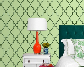 Moroccan stencils on wall, Homemade design, DIY home decor