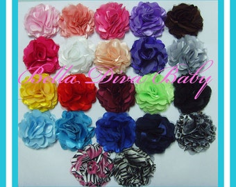 "Satin tulle mesh flower lots of colors  3""- To make elegant vintage headband  hair clips- Photo prop"