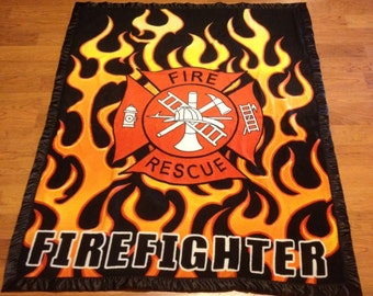 Firefighter Fire Rescue Double-Sided Fleece Blanket