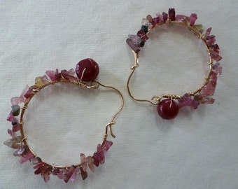 Ruby faceted beads, rose pink and green tourmaline spikes wired on hammered 14kt goldfilled Creole hoops look like Lush Earrings