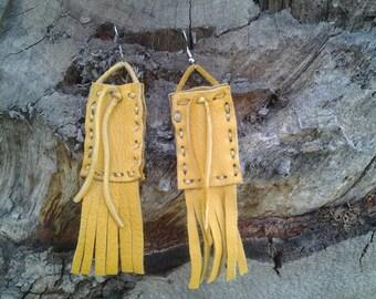 CLEARANCE earrings deerskin medicine bag native American boho chic