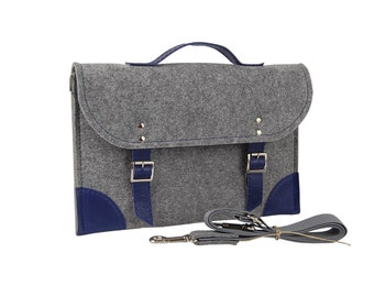 Felt Laptop bag 15 inch with pocket, sleeve, Macbook Pro 15 inch, Laptop case, grey felt and blue leather