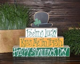 St. Patrick's Day Decor Leprechaun Block Set St. Patrick's Day Stacker Block Set Home Decor Primitive Gift Holiday St. Patrick's Day