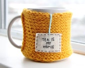 Tea is My Homie Mug Cozy, Coffee Travel Mug, Knitted Coffee Mug Cozy, Gold Knit Coffee Cozy, Cup Cozy, Tea Cozy, Mug Warmer, Womens Gift