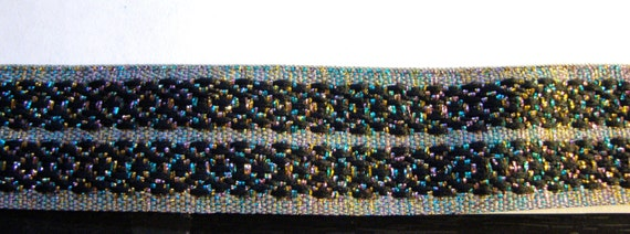 Embroidered Woven Fabric Trim-Metallic MULTI-COLOR threading with BLACK for Costumes,Sewing,Crafting,Decor-by the yard,Regal,Renaissance