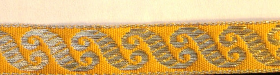 Embroidered Woven Fabric Trim-Metallic GOLD SCROLLS on BUTTERSCOTCH for Costumes,Sewing,Crafting,Decor-by the yard,1/2 inch wide,Rich/Regal