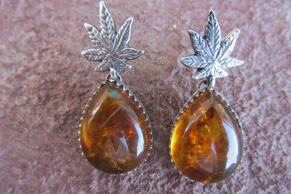 Honey Oil Earrings - 10% donation to Medical Cannabis Patient Jaqie Angel - Cannabis Amber Pot Leaf Earrings
