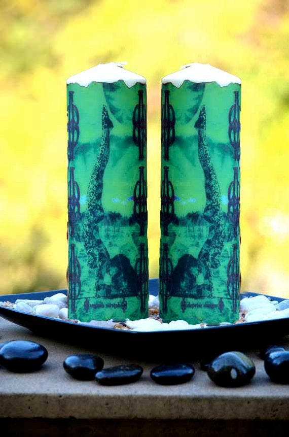 Emerald Green Feathered Peacock Yoga Pose Pillar Candle From