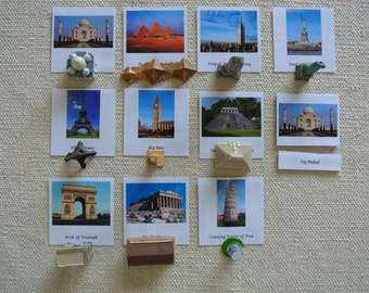 Montessori Around the World 5 Part Cards with Miniatures Educational Toy