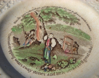 Early English Transfer Printed Plate early 19th Century With Mottos and Hand Colored Picture