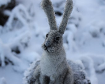Needle felted  Animal. Hare, Rabbit or Bunny.Miniature soft sculpture, felted wild animals
