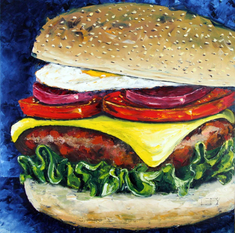Food Art Painting Pop Art Cheeseburger Hamburger Food Art