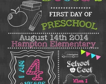 First Day of School Chalkboard Sign Personalized First Day of School ...