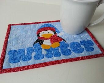 MUG RUG PATTERN  Cute Winter Penguin Mug Rug  Pattern (Instant Digital Download)